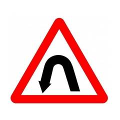Asian Loto 3 mm Traffic Sign Left Hairpin Bend , ALC-SGN-57-900