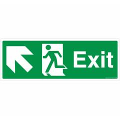 Safety Sign Store Exit Left and Up Sign Board, FE207-1029NGR-01