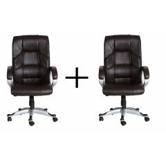 High Living Brown Leatherette High Back Extra Cushion Office Chair, HL_13 (Pack of 2)