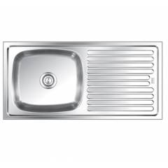 SteelKraft SSDB-111 Single Bowl Stainless Steel Sink with Drain Board, Size: 20x16 inch