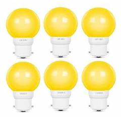 Luminous Amber Eco 0.5W B22 Yellow LED Bulb, TLM0UDB2DYWP5 (Pack of 6)