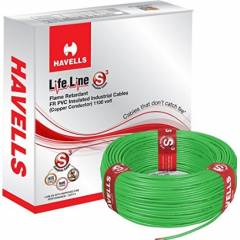 Havells 1.5 Sq mm Single Core Life Line Plus S3 Green HRFR PVC Flexible Cables WHFFDNGA11X5 Length 90 m