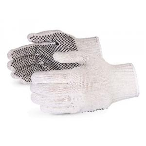 SuperDeals White with One Sided Black Dotted Hand Gloves, SD118 (Pack of 5)