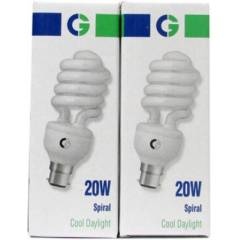 Crompton 20W B-22 Spiral DF CFL Cool Day Light (Pack of 2)