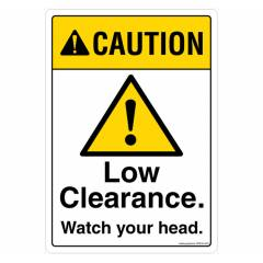 Safety Sign Store Caution: Low Clearance, Watch Your Head Sign Board, SS638-A5AL-01