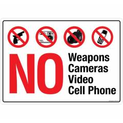 Safety Sign Store No Weapons Cameras & Video Cell Phone Sign Board, PS410-A3V-01