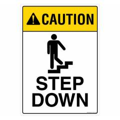 Safety Sign Store Caution: Step Down Sign Board, FS103-A3PC-01