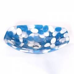 SNB 227 Blue & White Boat Cut Wash Basin, Size: 18x12 Inch