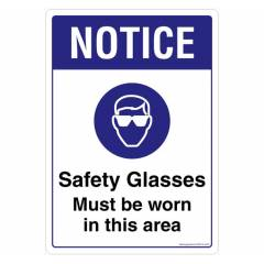 Safety Sign Store Notice: Safety Glasses must be Worn Sign Board, SS812-A4V-01