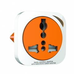 GM 3009 2 Pin Square Travel Universal Adaptor with Indicator & Safety Shutter