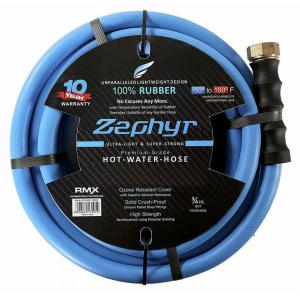 Zephyr 1/2 Inch Flexible Rubber Garden Hose with Brass End Fitting, Length: 50 ft