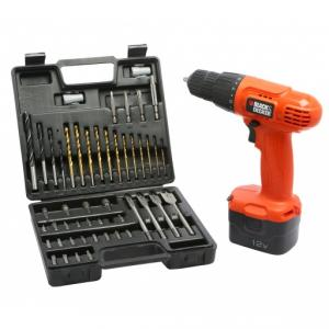 Black & Decker 10mm 12V Cordless Drill Driver Kit, CD121K50