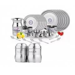 Airan 37 Pieces Stainless Steel Dinner Set with Free Tea & Sugar Container