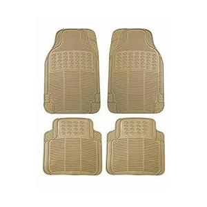 Evergreen Universal Beige Rubber Foot Mat Set For Car Floor