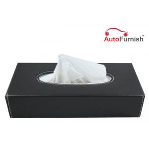 Autofurnish Black Leather Finish Tissue Holder Box with Free Tissues
