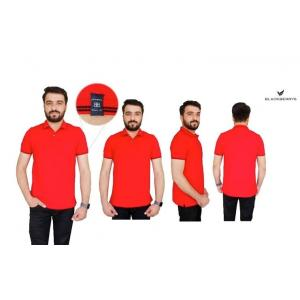 Blackberrys Red Customized T-shirt with Black Tipping & Placket, Size: M