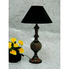 Tucasa Antique Brass Carving Table Lamp with Black Shade, LG-845