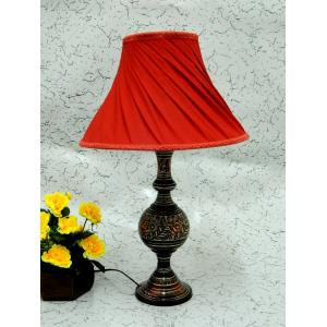 Tucasa Antique Brass Carving Table Lamp with Red Pleated Shade, LG-850