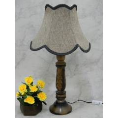 Tucasa Wooden Carving Table Lamp with Brown Jute Shade, LG-835