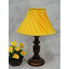 Tucasa Royal Wooden Table Lamp with Yellow Pleated Shade, LG-815