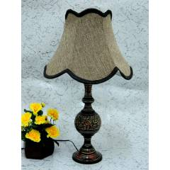 Tucasa Antique Brass Carving Table Lamp with Brown Jute Shade, LG-855