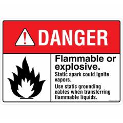 Safety Sign Store Danger: Flammable Or Explosive Sign Board, FE704-A4V-01