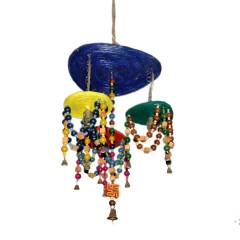 Aadhya Creations Tri Plate Paper Chandelier (Wooden Beads), AC13PC004