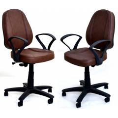Mezonite Medium Back Leatherette Brown Office Chair (Pack of 2)