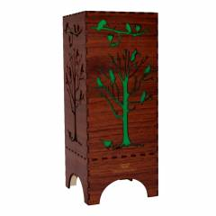 Dizionzrio DTBLTRBR Green Handicrafts Wooden Look Hand Made Night Table Lamp