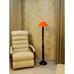 Tucasa Twisted Wooden Floor Lamp with Orange Conical Shade, LG-879