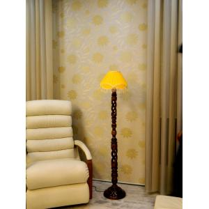 Tucasa Twisted Wooden Floor Lamp with Red Lace Shade, LG-870