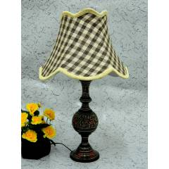 Tucasa Antique Brass Carving Table Lamp with Check Jute Shade, LG-853