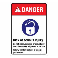 Safety Sign Store Danger: Risk of Serious Injury Sign Board, SS712-A4V-01