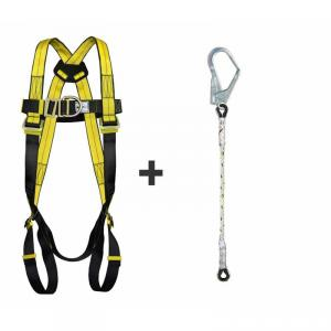 Allen Cooper Yellow Full Body Polypropylene Harness with Twisted Rope Lanyard, 1011030_FBH24_TRL206