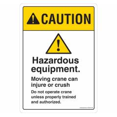 Safety Sign Store Caution: Hazardous Equipment Sign Board, SS624-A4V-01