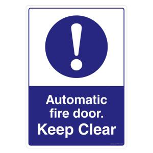 Safety Sign Store Automatic Fire Door, Keep Clear Sign Board, FE515-A3V-01