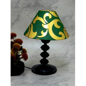 Tucasa Contemporary Table Lamp with Green & Golden Shade, LG-739