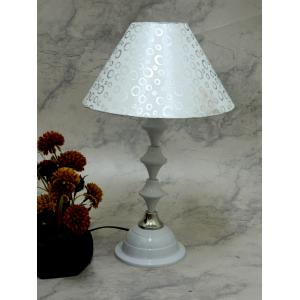 Tucasa Classic White Lamp with White & Silver Shade, LG-729