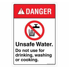 Safety Sign Store Danger: Unsafe Water Sign Board, SS641-A5V-01