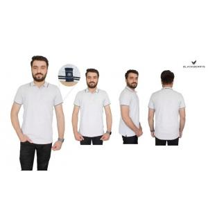 Blackberrys White Customized T-shirt with Black Tipping & Placket, Size: L