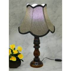 Tucasa Wooden Table Lamp with Brown Jute Shade, LG-843