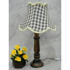 Tucasa Wooden Carving Table Lamp with Check Jute Shade, LG-833