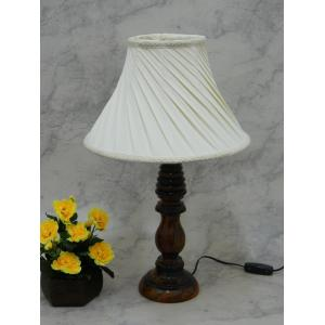 Tucasa Wooden Table Lamp with Off White Pleated Shade, LG-838