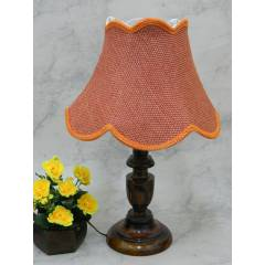 Tucasa Royal Wooden Table Lamp with Red Jute Shade, LG-813