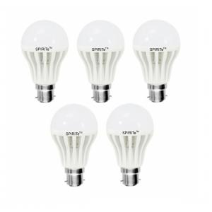 Spirite 9W B-22 Bright Milky White LED Bulb (Pack of 5)