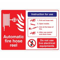 Safety Sign Store Automatic Fire Hose Reel Sign Board, FE547-A3AL-01