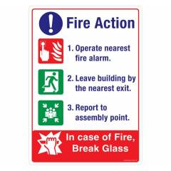 Safety Sign Store Fire Action: In Case of Fire Sign Board, FE553-A4PC-01