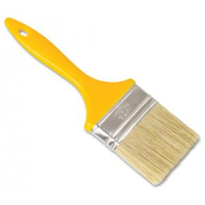 Generic Brown Flat Paint Brush With White Bristle