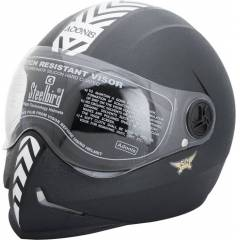 Steelbird Dashing Adonis Full Face Motorbike Helmet Black, Size (Large, 600 mm)