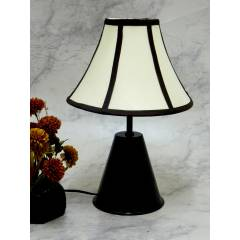 Tucasa Black Metal Table Lamp with Stripe Shade, LG-754